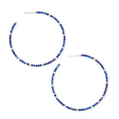 Scarlet Hoop Earring Rhod Blue Lapis