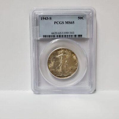 1943 S Walking Liberty Half Dollar PCGS MS 65
