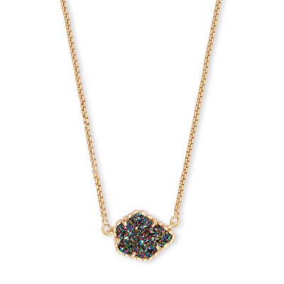 Tess Gold Multi-Colored Drusy Necklace