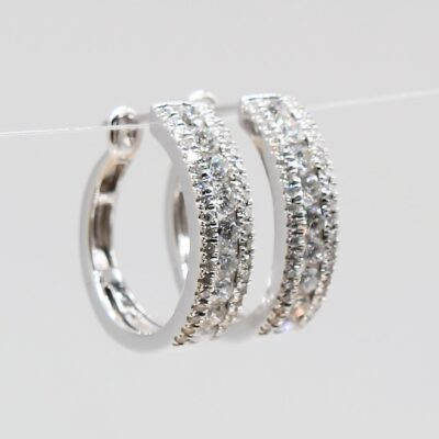 14 Karat White Gold .75ctw Diamond Hoop Earrings