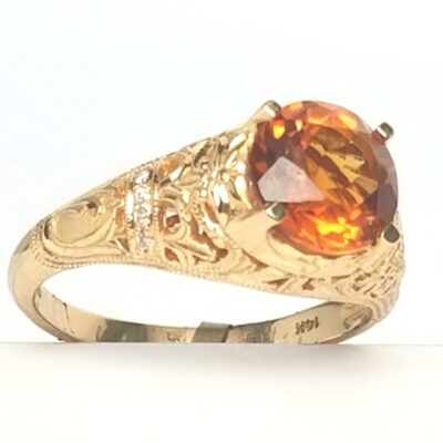 14 Karat Yellow Gold Citrine and Diamond Vintage Ring