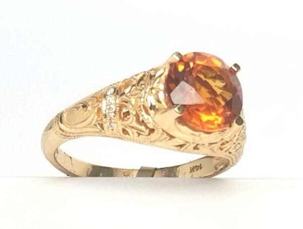 14 Karat Yellow Gold Citrine and Diamond Vintage Ring