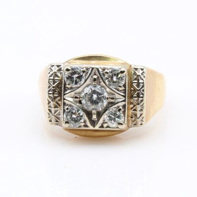 14KT Yellow Gold Diamond Gents Ring