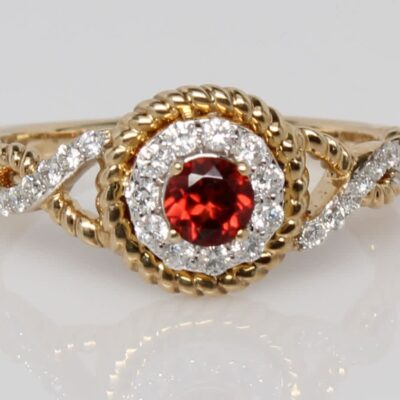 14K Yellow Gold and Diamond Accented Garnet Ring