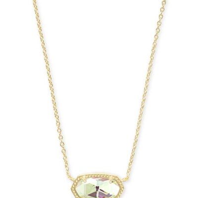 Elisa Gold Metal Dichroic Glass Necklace