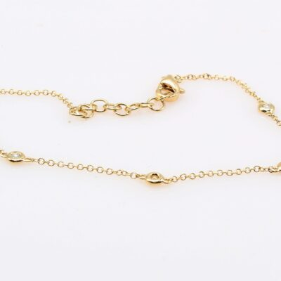 14K Yellow Gold Diamond Station Bracelet