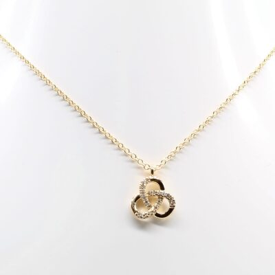 14K Yellow Gold and Diamond Accented Trefoil Necklace