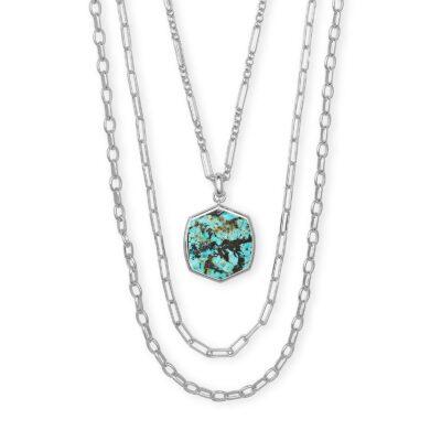 Davis Multi Strand Necklace Rhodium African Turquoise