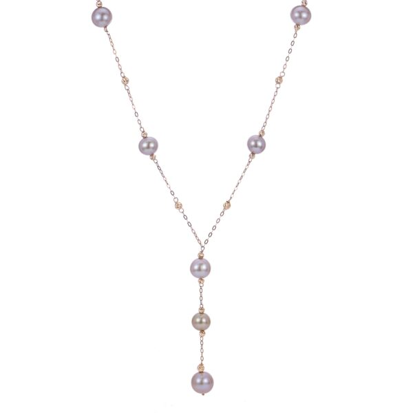 14 Karat Rose Gold Necklace with Pink Freshwater Pearls