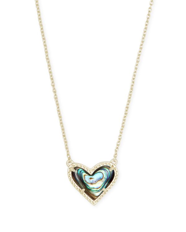Ari Heart Pendant Gold Metal Abalone