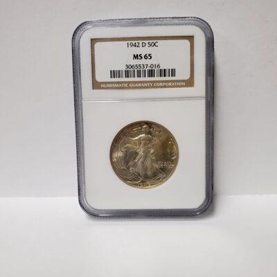 1942 D Walking Liberty Half Dollar NGC MS 65