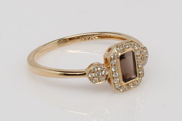 14 Karat Yellow Gold Emerald Cut Smoky Quartz with Diamond Halo and Accents