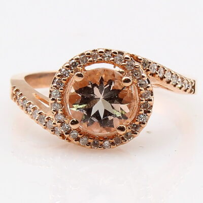10K Rose Gold Morganite Byass Ring with Diamond Accents