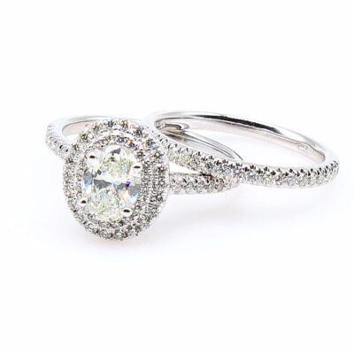14KW Double Halo Oval Diamond Wedding Set 1.62ctw GIA