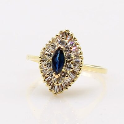 14 Karat Yellow Gold Marquise Sapphire and Diamond Ballerina Ring