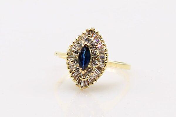 14 Karat Yellow Gold Marquise Sapphire and Diamond Ballerina Ring