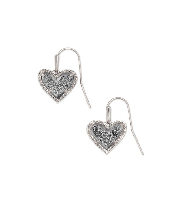 Ari Heart Drop Earring Rhodium Platinum Drusy
