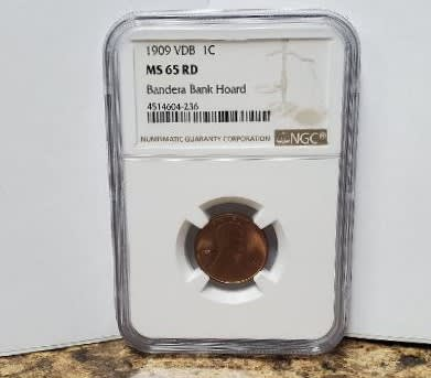 1909 VDB Lincoln Cent MS 65 RD