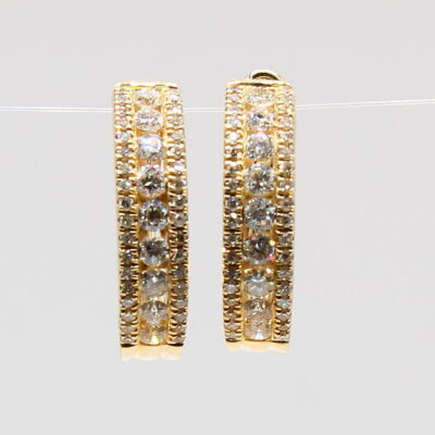 14Karat Yellow Gold .75ctw Diamond Hoop Earrings