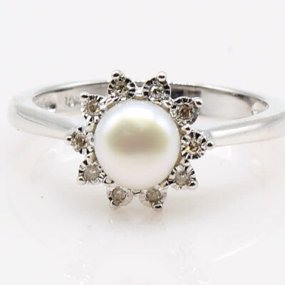 Pearl and Diamond Halo Ring in 14K White Gold