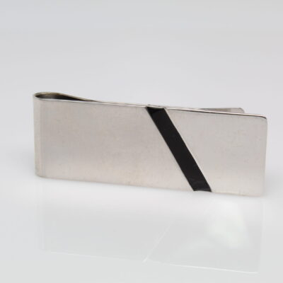 Sterling Silver Money Clip with Black Enamel