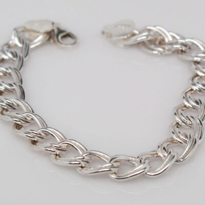 "Sterling Silver Double Linked 7"" Charm Bracelet"