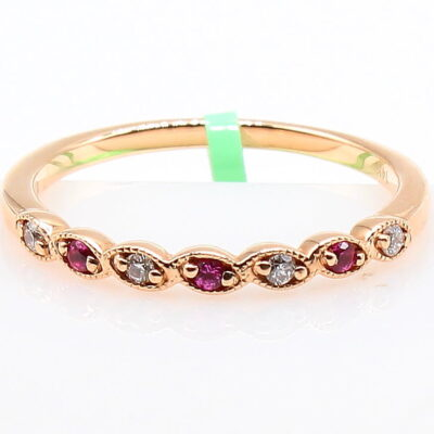 14K Rose Gold .10ctw Diamond and Ruby Band