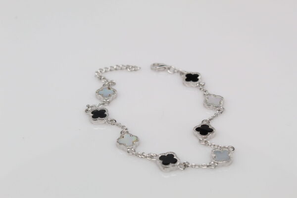 Sterling Mother of Pearl and Onyx Flower Bracelet