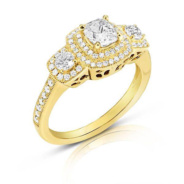 14KY Diamond Halo Engagement Ring 0.91ctw