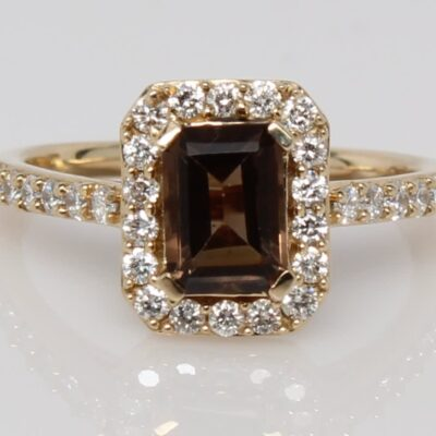 14KY Emerald Cut Smoky Quartz with Diamond Accents Ring