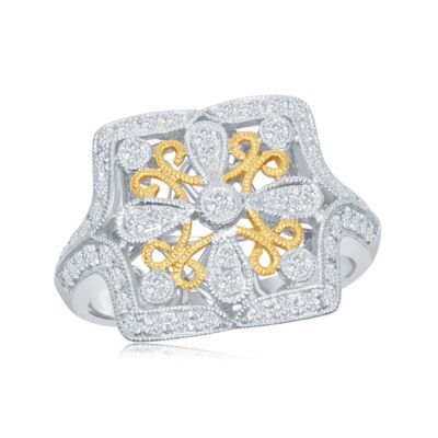 14K Two Toned White Gold and Yellow Gold Vintage Inspired Diamond Ring