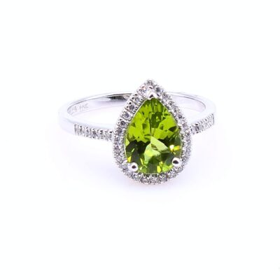 14 Karat White Gold Pear Shaped Peridot and Diamond Ring