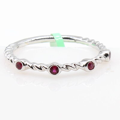 14K White Gold Band with .09ctw Rubies