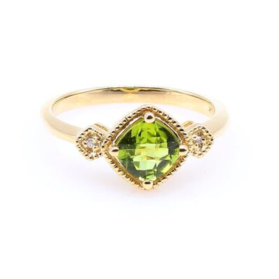 10KY Diagonally Set Peridot .84ct and Diamond Ring