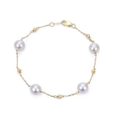 14 Karat Yellow Gold and Akoya Pearl Bracelet