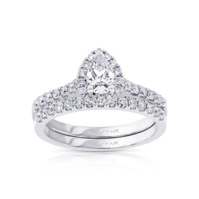 14KW Pear Shape Diamond Ring with Matching Band 1.00ctw