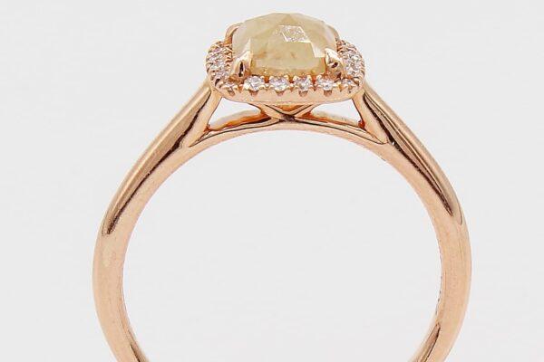 14K Rose Gold .77CT Rough Diamond Ring with White Diamond Halo