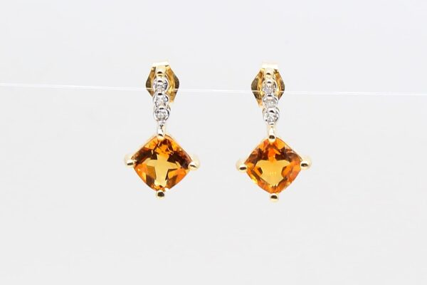 14 Karat Yellow Gold Citrine and Diamond Drop Earrings