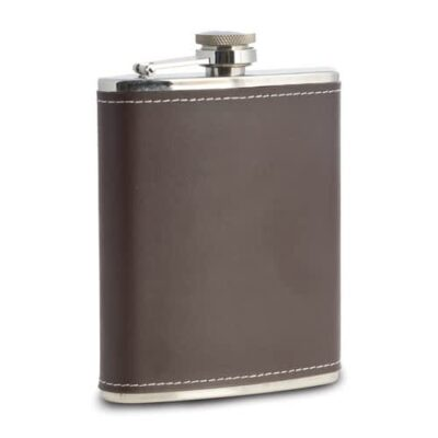 Stainless and Brown Leather 6 oz. Flask