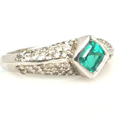 14 Karat White Gold Emerald and Diamond Vintage Ring