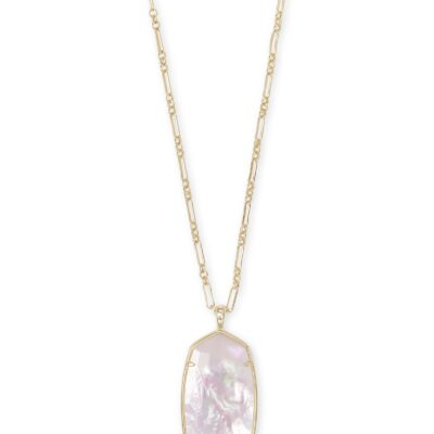 Reid Gold Metal Faceted Ivory Mother of Pearl Necklace