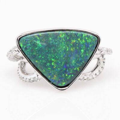 Black Opal and Diamond in 14K White Gold Custom Ring