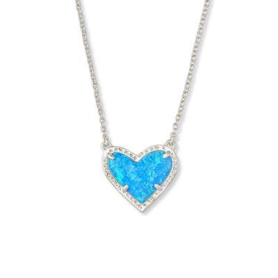 Ari Heart Pendant Rhodium Ocean Opal