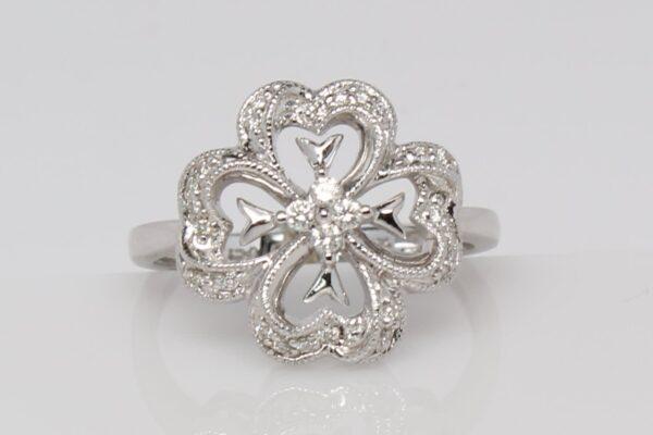 14 Karat White Gold and Diamond Ring
