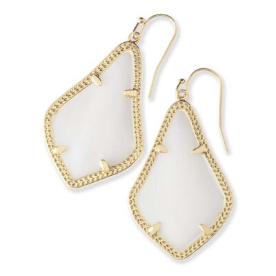 Alex Gold Metal White Mother of Pearl Earrings