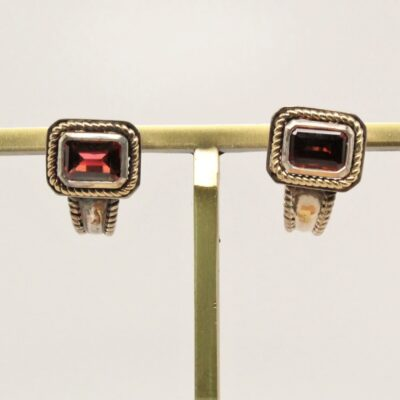 Sterling and 14 Karat Yellow Gold and Garnet Earrings