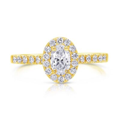 14KY Oval Halo Diamond Ring 3/4ctw