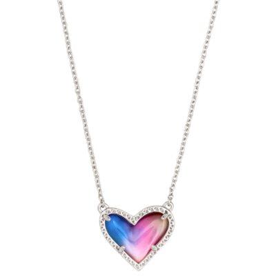 Ari Rhodium Watercolor Heart Pendant
