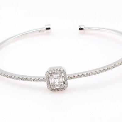 14KT White Gold Diamond Bangle