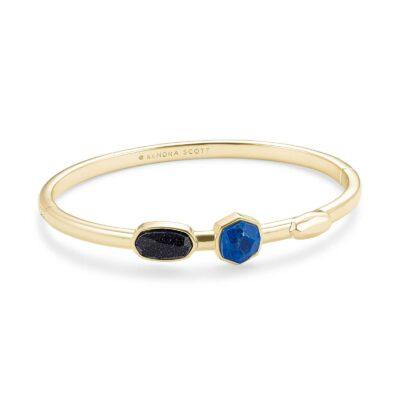 Davie Bangle Bracelet Gold Blue Mix